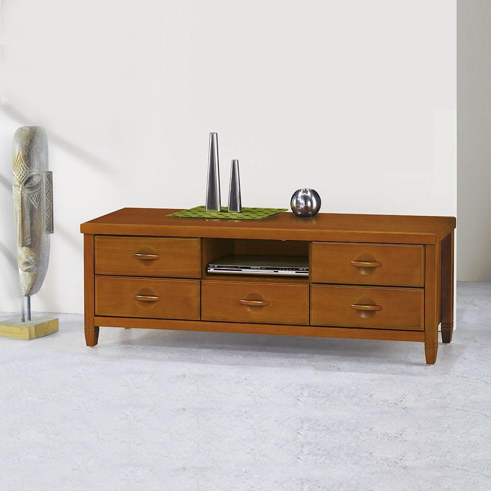 AS-柚木色半實木5尺長櫃-151×44×55cm