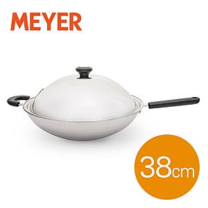 美亞MEYER  美國美亞經典五層不鏽鋼導磁單柄炒鍋38CM