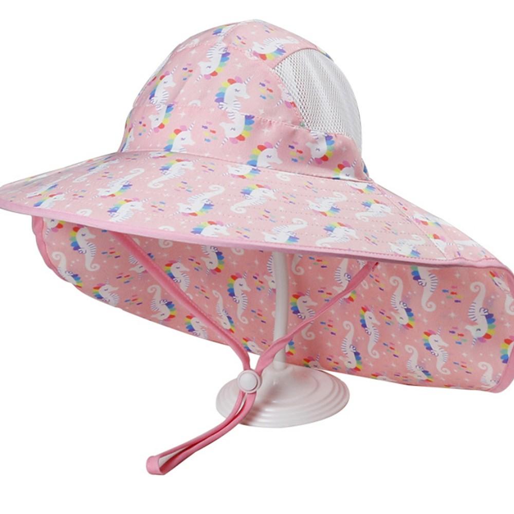 獨角獸 透氣網眼 大帽沿 防風繩 防曬遮陽帽 帽子 盆帽 大童 女童 遮陽帽 防曬【p0061204717073】