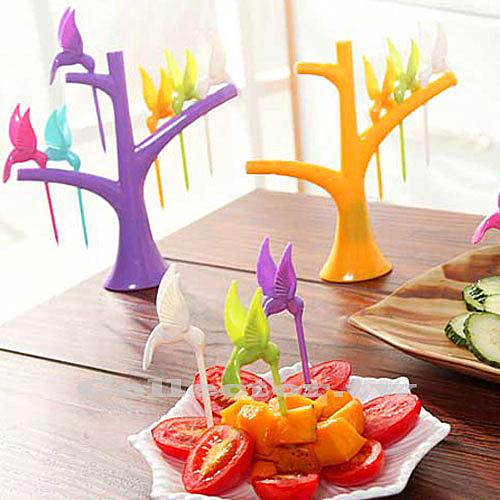 樹梢小鳥水果叉 6支裝 時尚可愛環保水果叉子