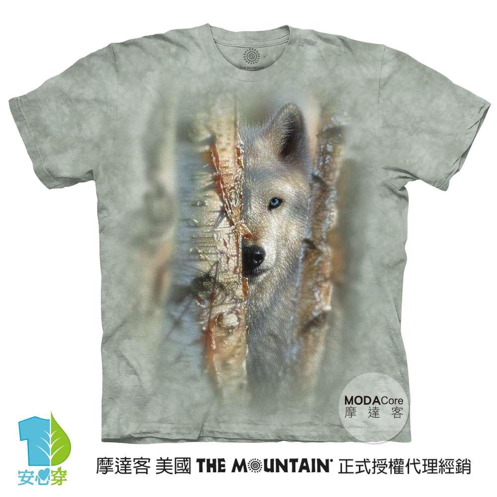摩達客-預購-美國進口The Mountain  雪地勇士白狼 純棉環保藝術中性短袖T恤-大尺碼