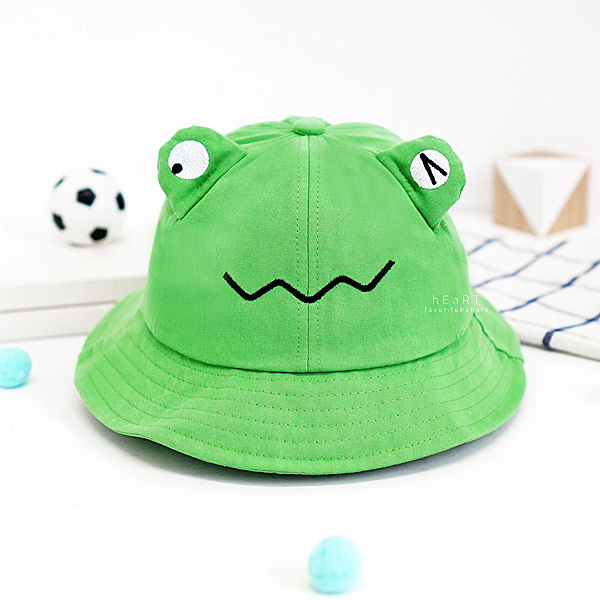 眨眼青蛙遮陽漁夫帽 帽子 遮陽帽 童帽