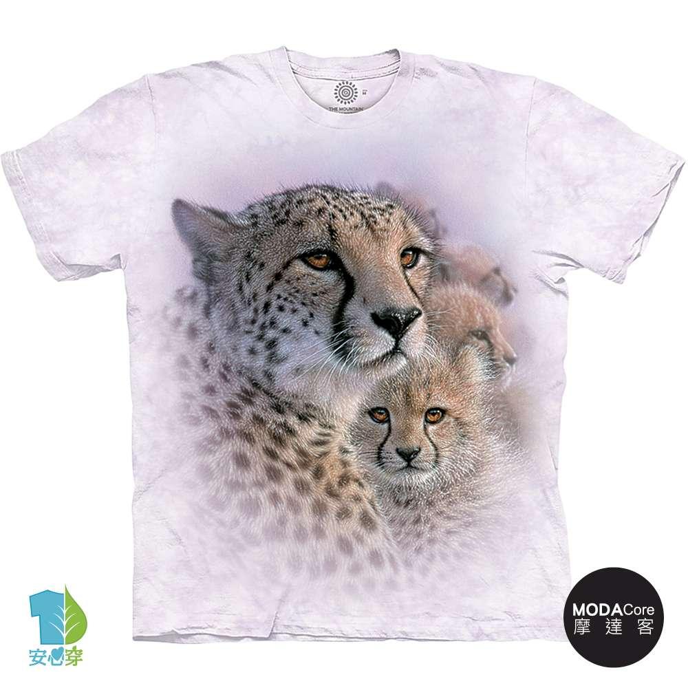 摩達客-預購-美國進口The Mountain 溫馨親子豹 純棉環保藝術中性短袖T恤-3XL