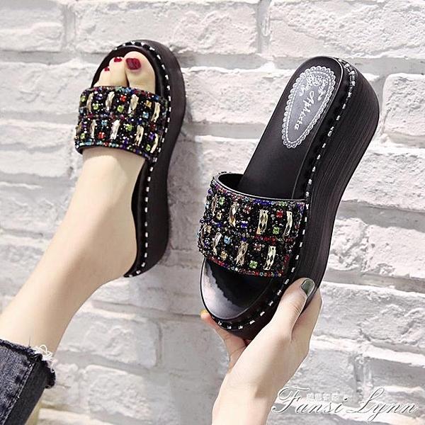 拖鞋女外穿夏季新款時尚厚底百搭水鉆坡跟懶人網紅涼拖ins潮 中秋節全館免運