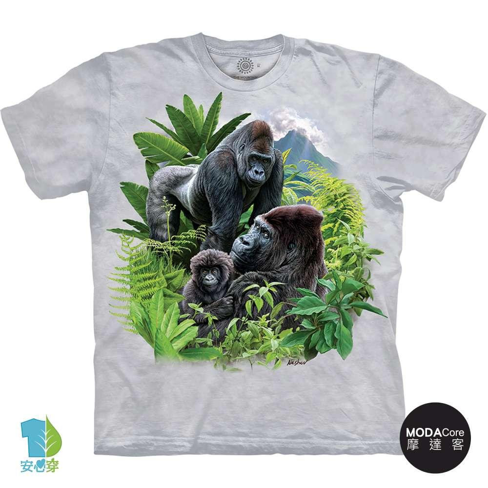摩達客-預購-美國進口The Mountain 大猩猩家族 純棉環保藝術中性短袖T恤-3XL