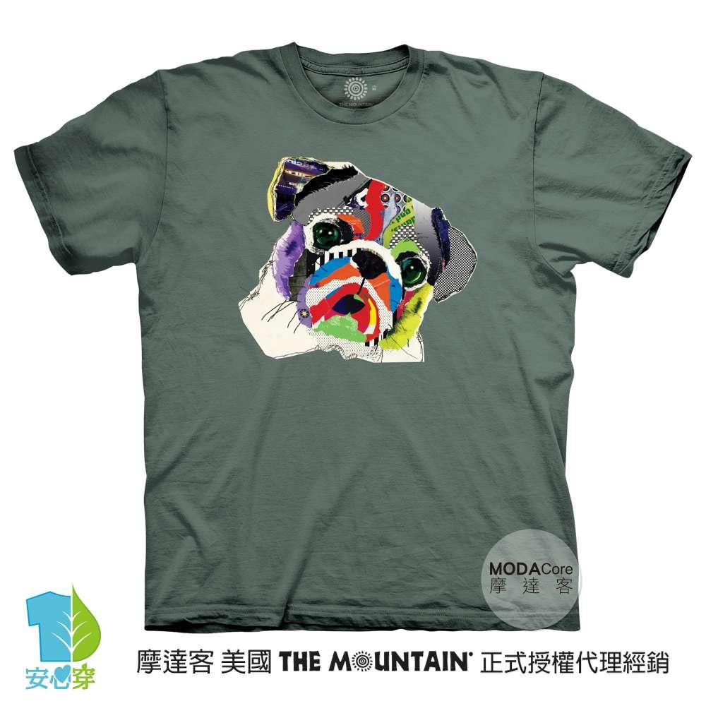 摩達客-預購-美國進口The Mountain 彩虹哈巴狗 純棉環保藝術中性短袖T恤-3XL