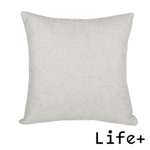 Life Plus 簡約素色 棉麻舒適方型抱枕.靠枕_淺灰