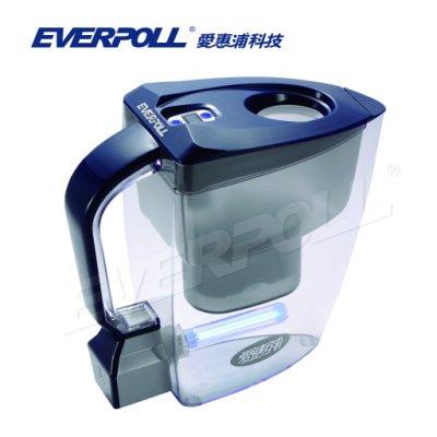 北台灣專業淨水 EVERPOLL 愛惠浦科技 淨water UV 滅菌生飲壺 UV-805 (白/藍色)