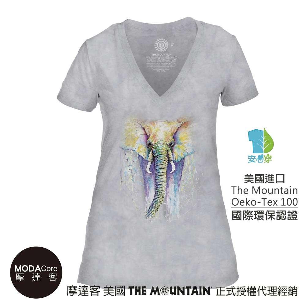 摩達客-預購-美國The Mountain都會系列 粉漾大象灰底 V領藝術修身女版短袖T恤