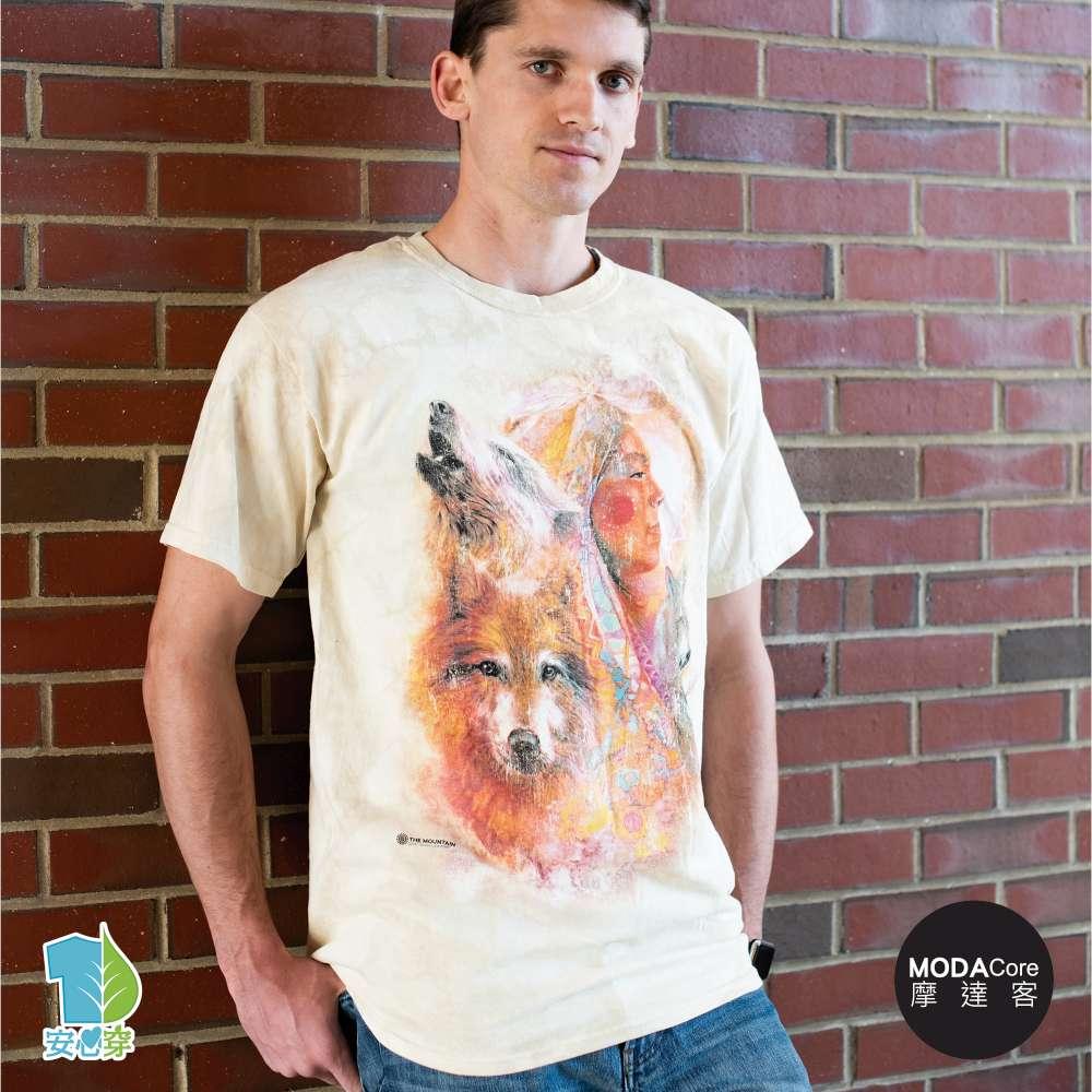 摩達客-預購-美國進口The Mountain  印第安女神與狼 純棉環保藝術中性短袖T恤-3XL