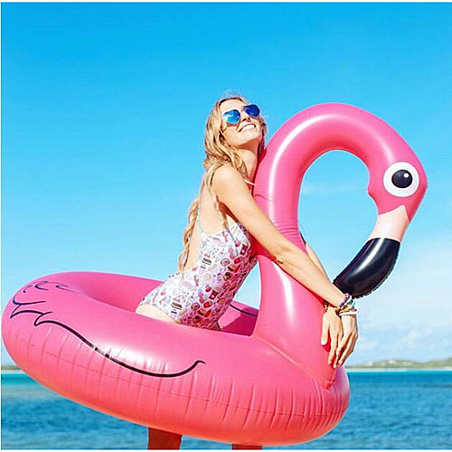 紅鶴鳥造型泳圈-120公分 成人 充氣浮圈救生圈加大加厚泳圈