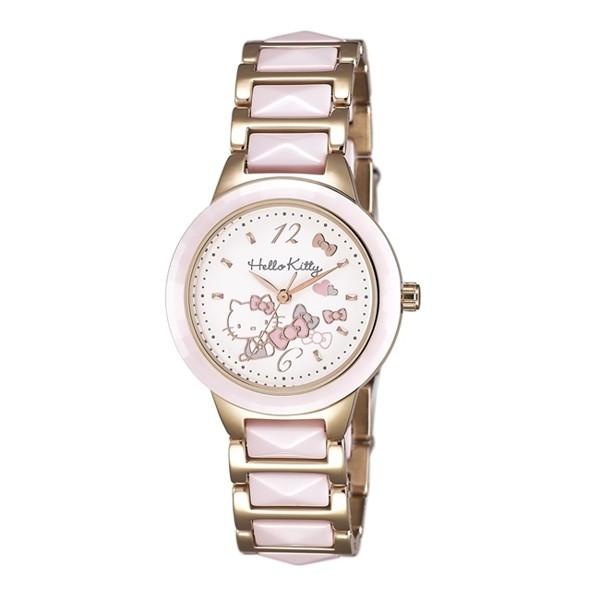 HELLO KITTY 凱蒂貓 甜美陶瓷手錶 LK706LRWP 粉