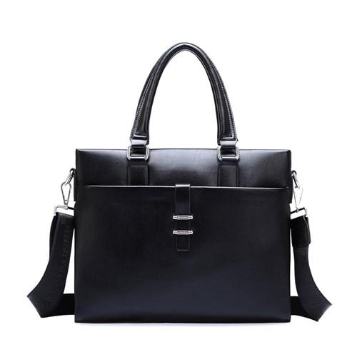 【米蘭精品】公事包皮革手提包-黑色簡約商務電腦男包包73xt23