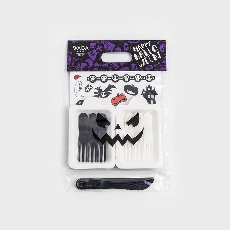 萬聖節雙耳餐具組 + 紋身貼紙 | 雙耳 WS