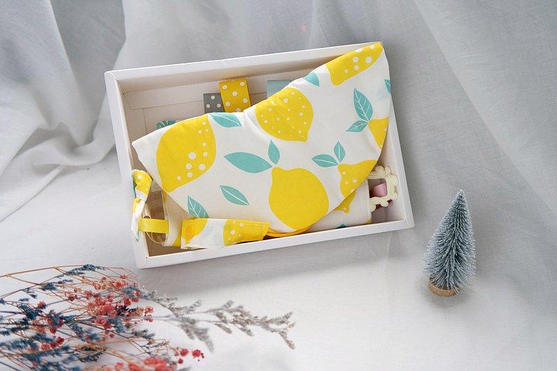 彌月禮盒 | 六重紗口水巾圍兜、安撫巾、奶嘴夾 | 咬一口甜檸檬