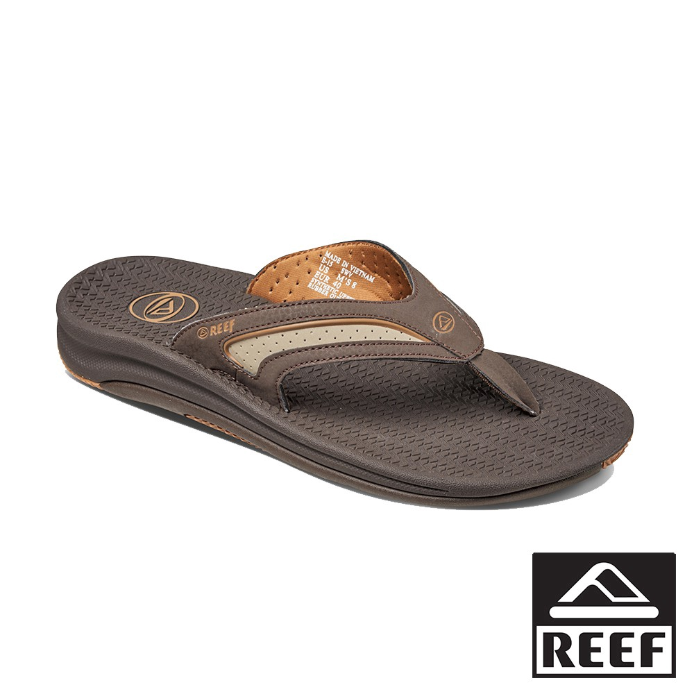 REEF 人體工學彈力鞋床 男款夾腳人字拖鞋 - 深棕/黃褐 廠商直送 現貨