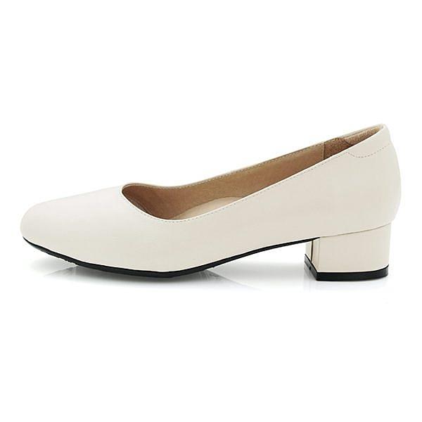 karine(MIT台灣製)全真皮素面粗低跟包鞋-白色