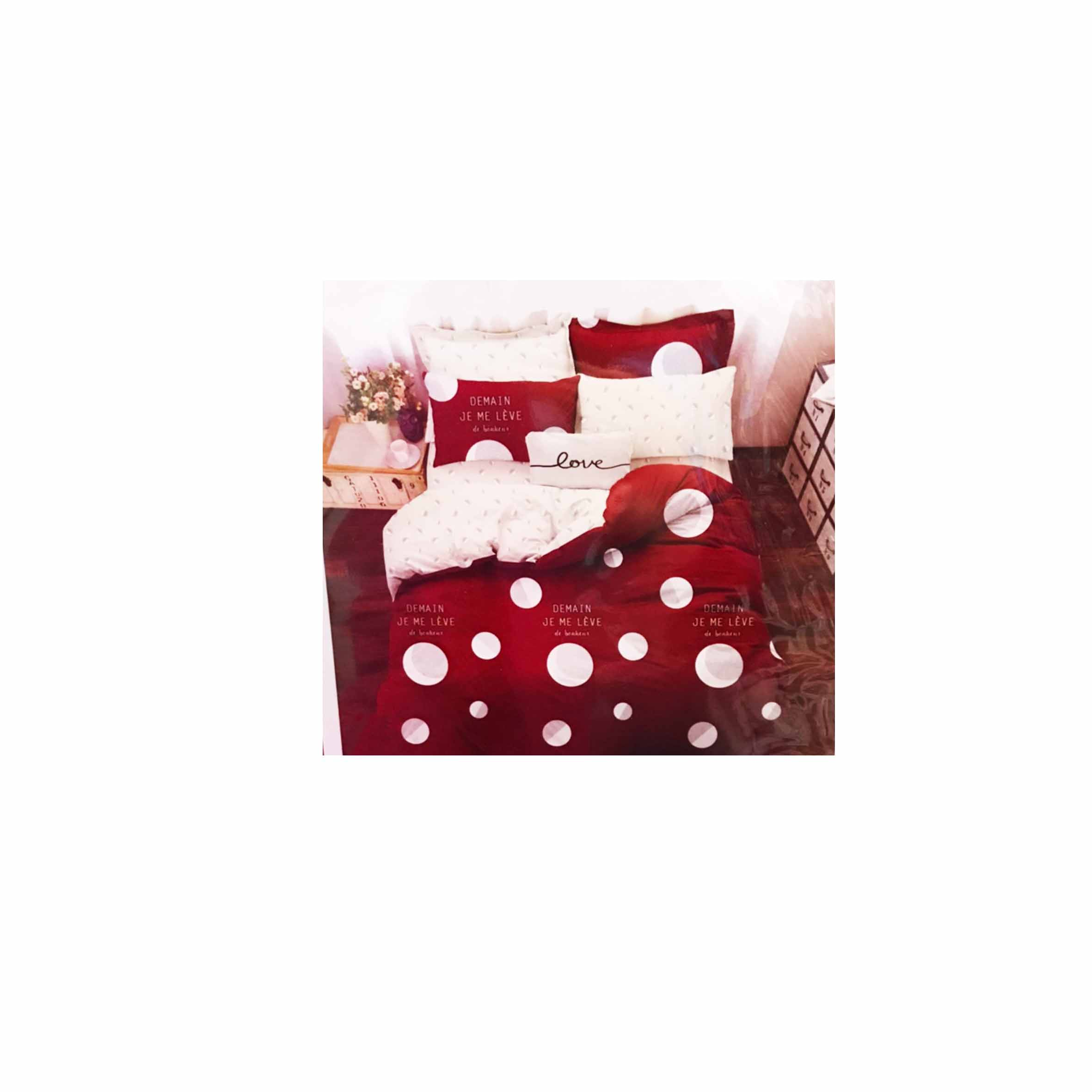 雙人鬆緊床包組 3件式 5x6.2尺 活性印染 -夢幻星球-紅