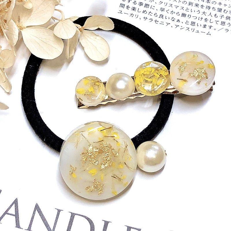 PUREST HOME 日本樹脂 花語 珍珠 手作 髮夾+髮圈 / 仲夏の戀