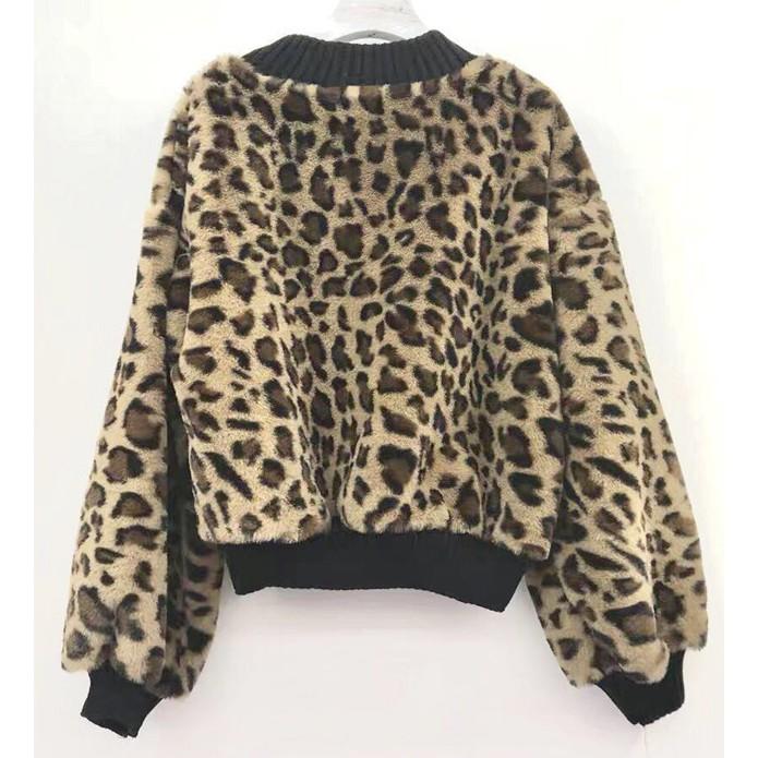 豹紋圓領短款衛衣 #232