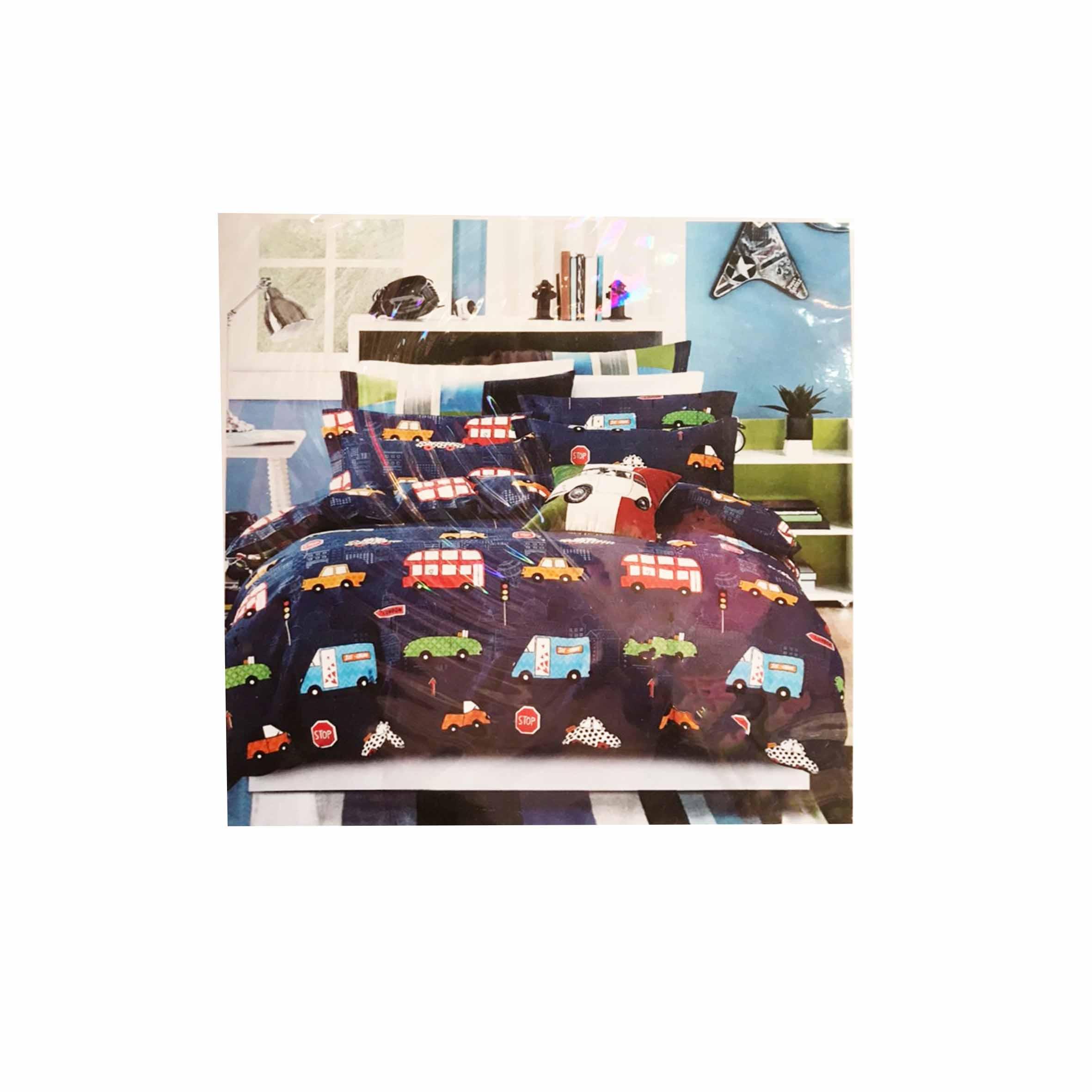 床包組 單人鬆緊床包組 2件式 3.5x6.2尺 玩具車