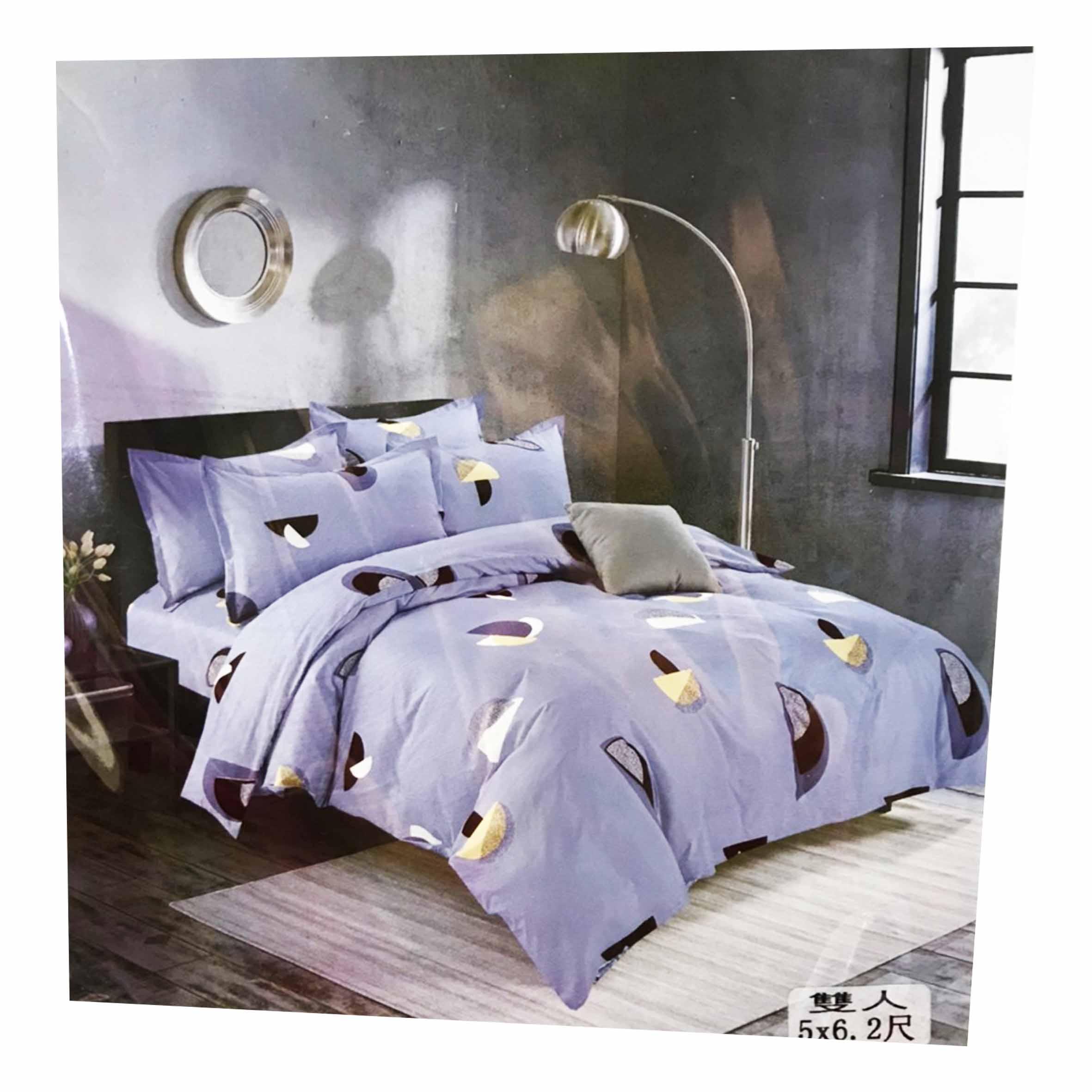 雙人鬆緊床包組 3件式 5x6.2尺 活性印染 -春季幻想 淡藍色