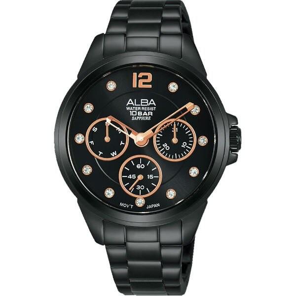 ALBA 雅柏 VD75-X123SD(AP6641X1) 時尚百搭潮流女錶/ 黑 36mm