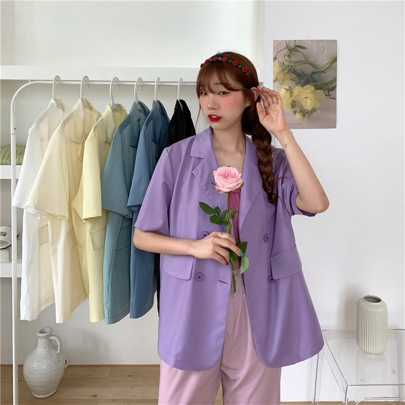 短袖西裝外套 女生 薄款 短袖 西裝 時尚 外套 韓版夏季糖果色百搭多色薄款寬鬆短袖西裝外套