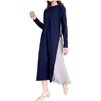 LG148 NB グレー ネイビー 紺 紺色 灰色 グレイ 6色展開 サイドプリーツ 長袖 ワンピース 五分袖(グレー/ネイビー, L)