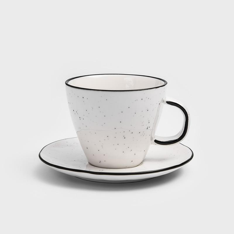 日式 墨灑釉燒 250ml 陶瓷杯碟組 │單品