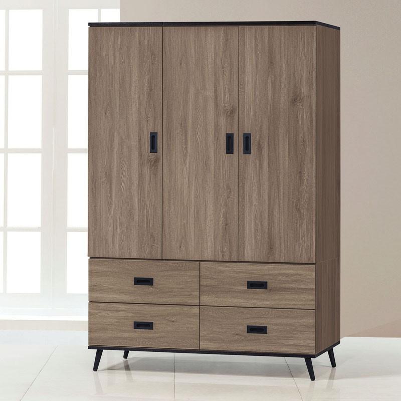 【CA178-6146】灰橡耐磨4×6尺衣櫥(附鏡)