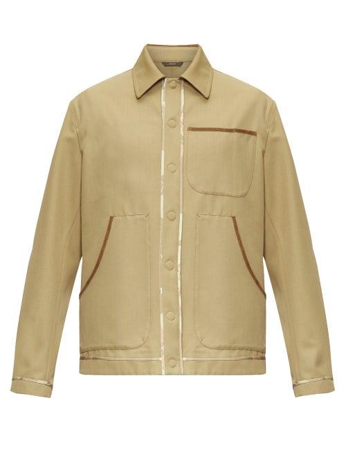 Fendi - Suede-piped Wool-blend Gabardine Shirt - Mens - Green