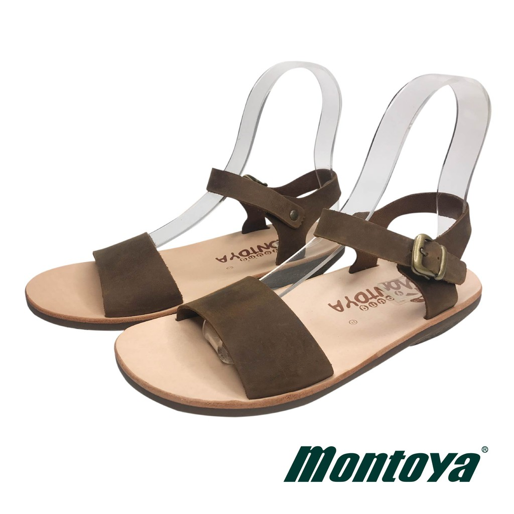 montoya 女款 咖啡色 瘋馬牛皮一字面涼鞋-825014