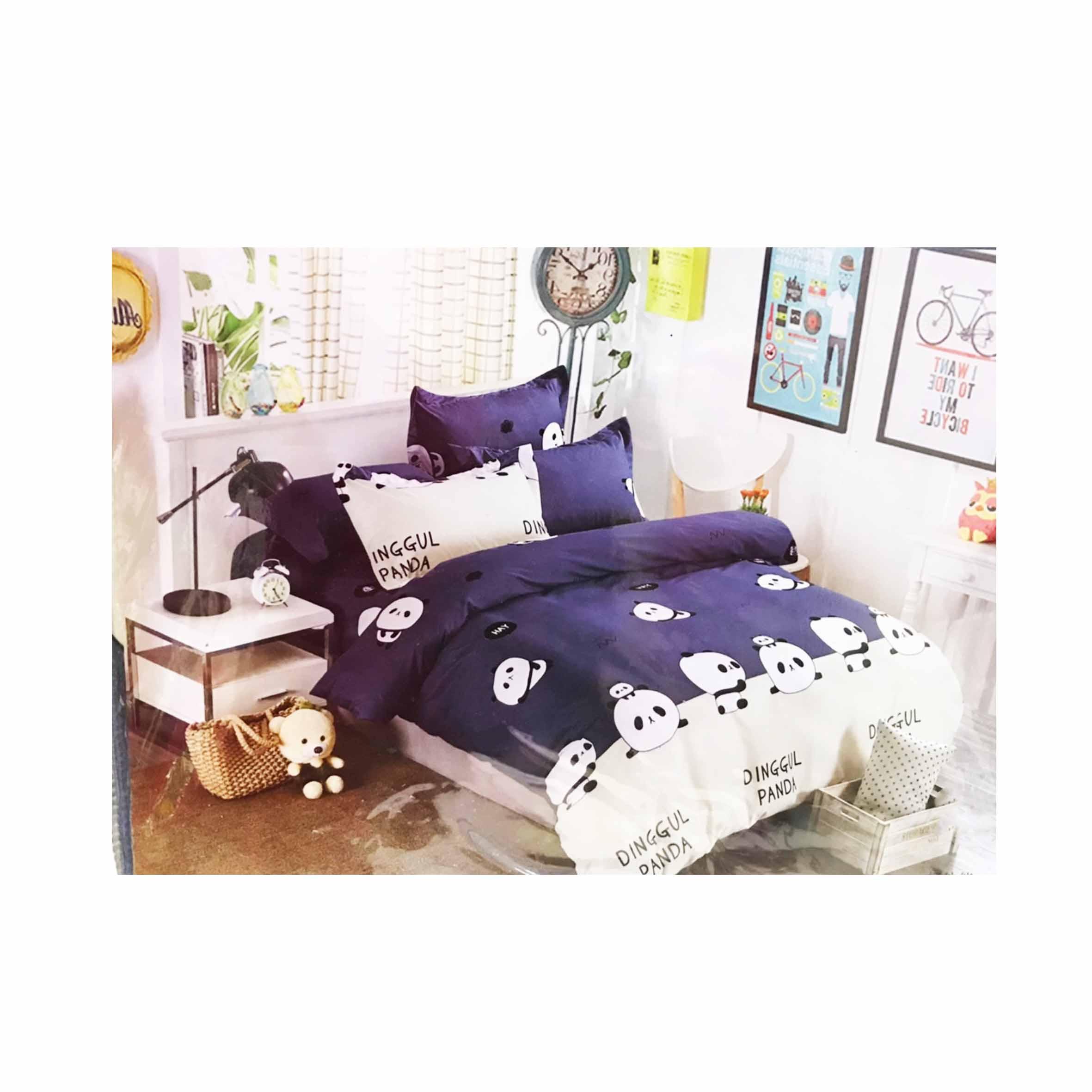 雙人鬆緊床包組 3件式 5x6.2尺 活性印染 -好夥伴 熊貓