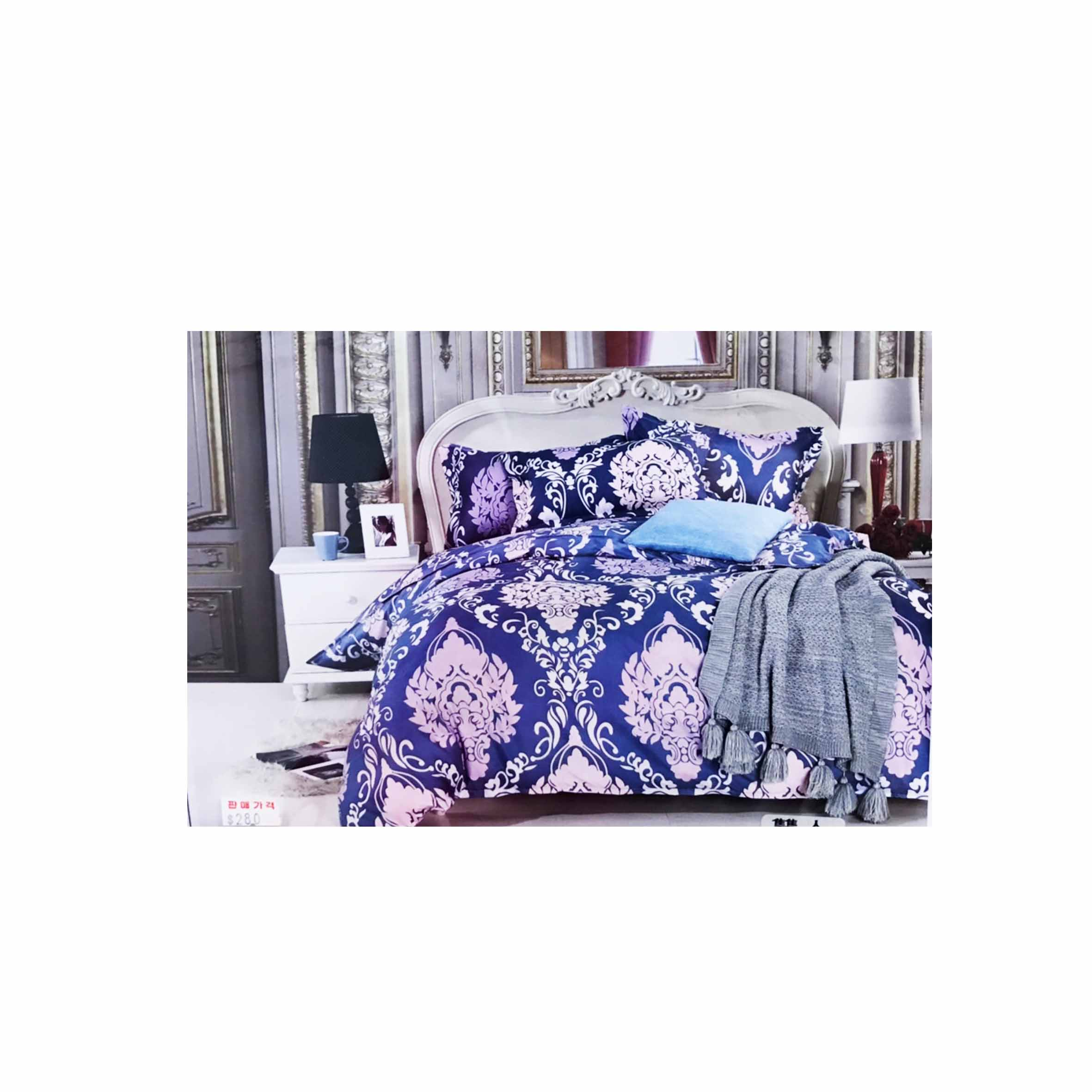雙人鬆緊床包組 3件式 5x6.2尺 活性印染 -暗戀繁花