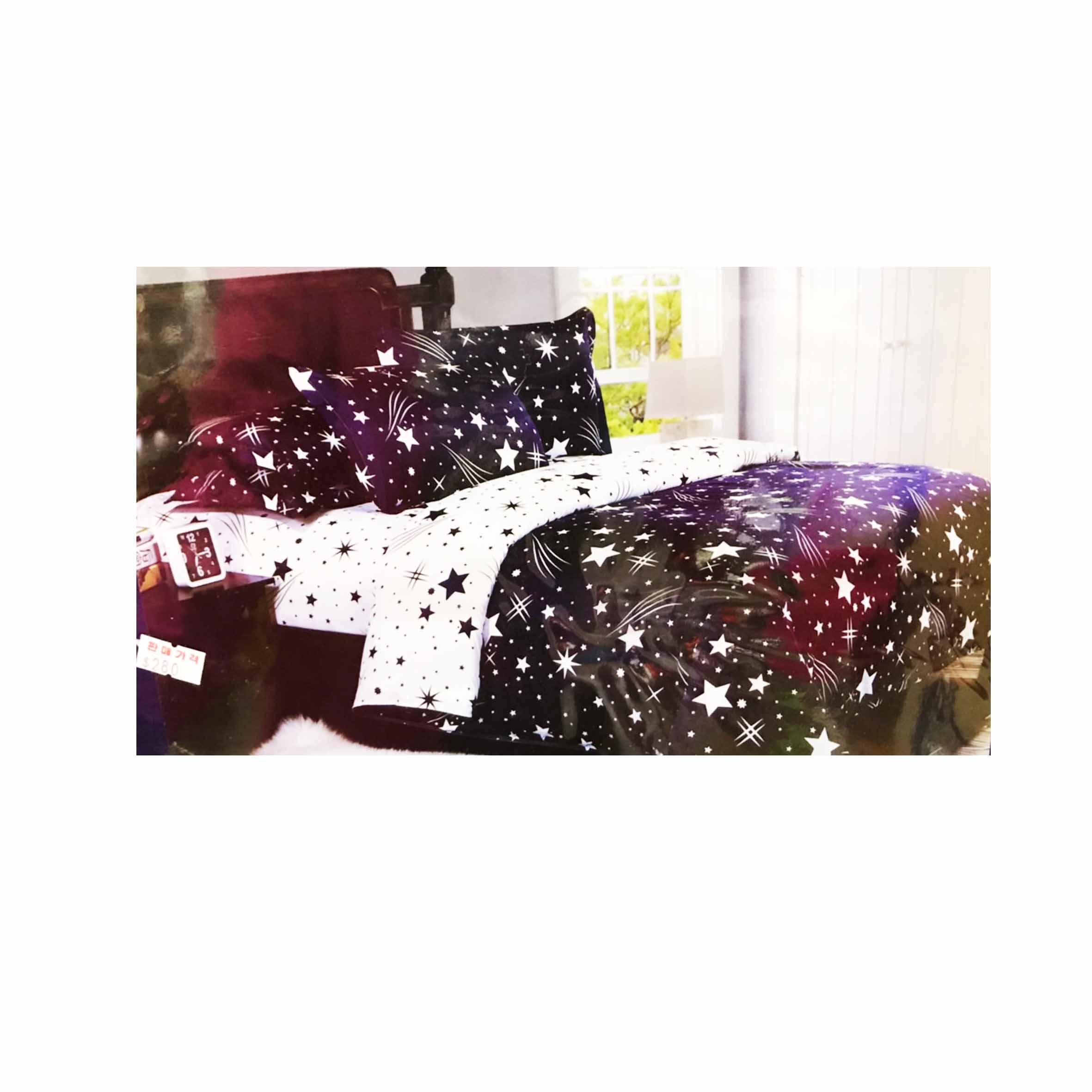 雙人鬆緊床包組 3件式 5x6.2尺 活性印染 -流星雨 藍色星星