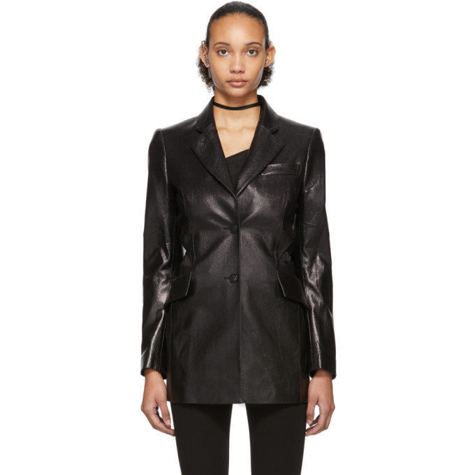 Yang Li 黑色镂空漆面人造皮革西装外套