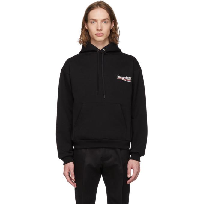 Balenciaga 黑色 Campaign 徽标连帽衫