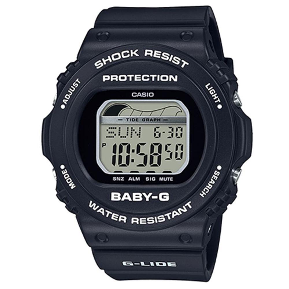 【CASIO卡西歐】BABY-G 女孩愛夏日潮汐設計運動休閒錶-黑 (BLX-570-1)