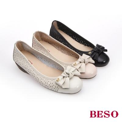 BESO時尚流行-國民小資女圓頭船台娃娃鞋(網路獨家款)-米色