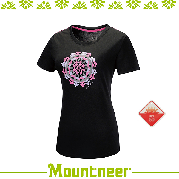 【Mountneer 山林 女 透氣排汗印花上衣/M《黑》】31P06 01/抗UV/UPF50+/透氣/排汗衣/上衣/休閒 滿額送