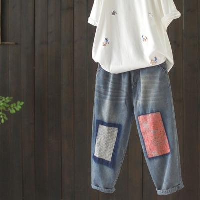 貼布牛仔褲寬鬆休閒老爹褲顯瘦七分哈倫褲-設計所在