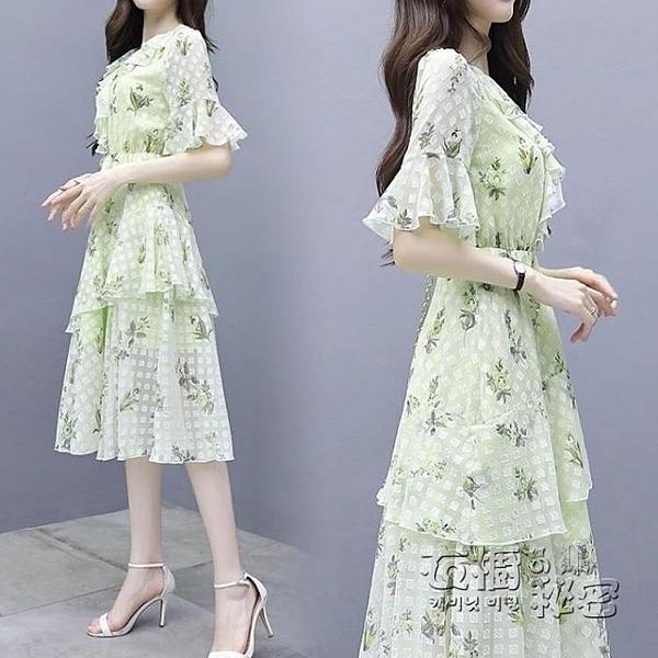 流行雪紡中長款洋裝新款夏季法式裙子仙女超仙森系甜美過膝 衣櫥秘密