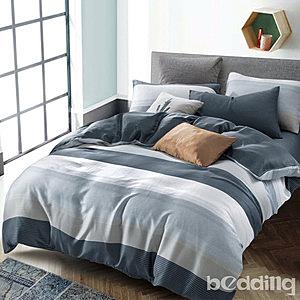 BEDDING-100%天絲三件式枕套床包組-時尚先生藍(特大)