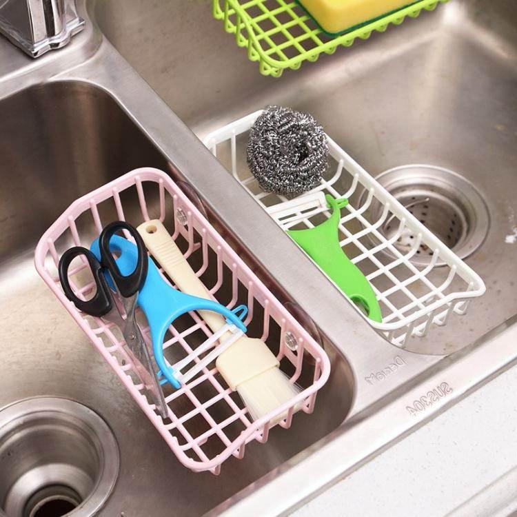 瀝水架 廚房水槽吸盤瀝水籃海綿置物架多功能洗碗收納架海綿餐具儲物架