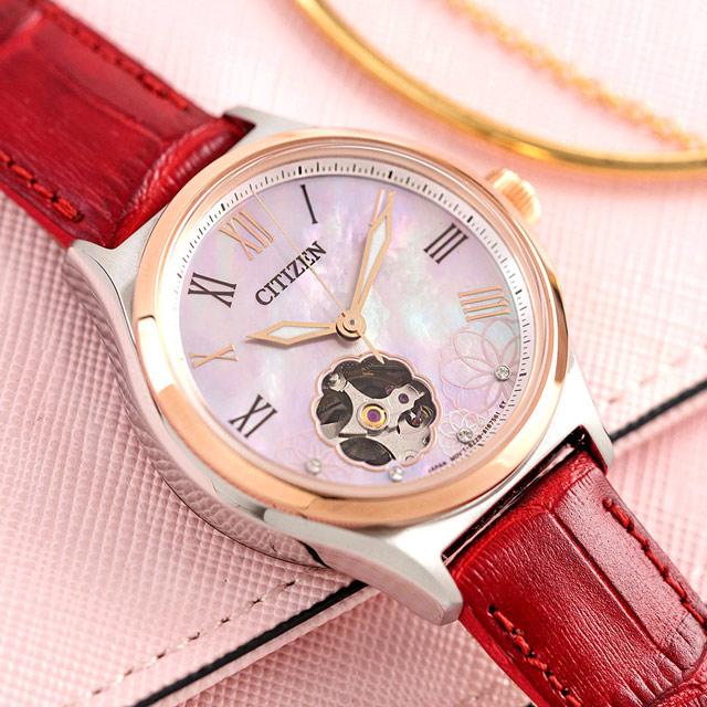 CITIZEN 星辰 女神氣質鏤空真皮機械錶/紅x玫瑰金框(PC1008-11Y)