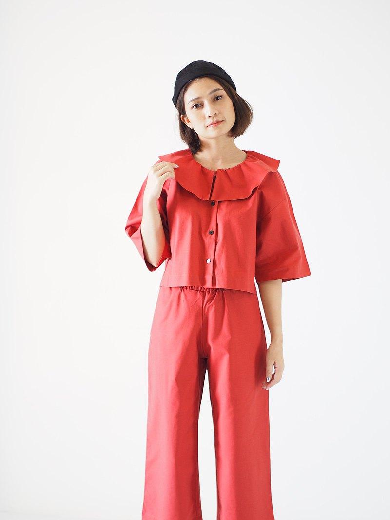 ManiBleu Circle衣領九分襯衫-橙色