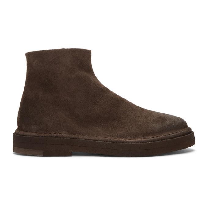Marsell 棕色 Parapa Tronchetto 绒面革拉链踝靴