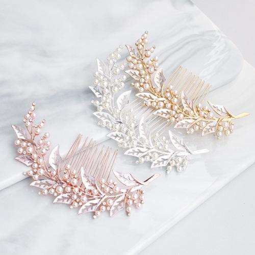 【米蘭精品】髮飾珍珠髮梳-水鑽合金枝蔓髮插頭飾3色73xr3