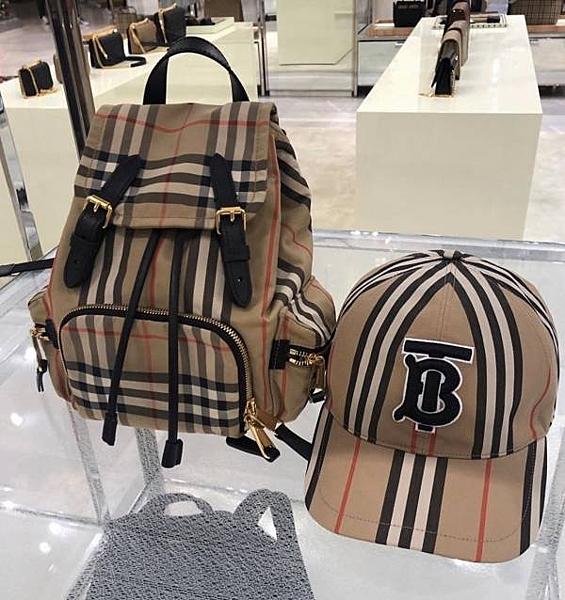 ■現貨在台■專櫃78折■全新真品 Burberry The Rucksack Vintage 格紋小型可斜背後背包